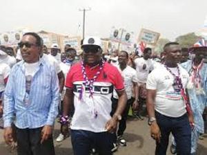 Mike Oquaye Jr. leading the mini-rally at Dome-Kwabenya