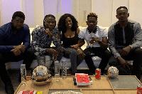 Shatta Wale and Stonebwoy in a unity pose with Nana Aba Anamoah, Blakk Cedi and Bulldog