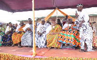Former President Jerry John Rawlings in state with Anlo Traditional Council members.
