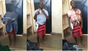 The man was caught with stolen meat strapped around his body