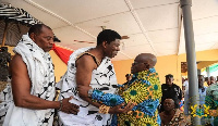Paramount chief of Techiman shares pleasantries with President Akufo-Addo