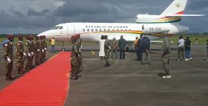 The presidential jet returns with Liberian president George Weah to Monrovia