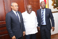 CAF President Ahmad Ahmad, Akufo-Addo and former GFA President Kwesi Nyantakyi