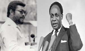 Former President Jerry John Rawlings (L) and Osagyefo Dr Kwame Nkrumah (R)