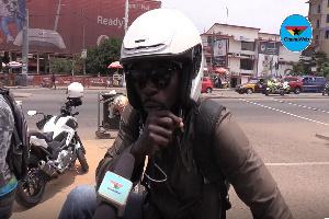 An Okada rider sharing his thoughts with GhanaWeb