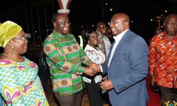 Vice President Dr Mahamudu Bawumia and Alan Kyeremanten sharing pleasantries at an event