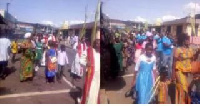 Some church members during the Hosanna procession through some streets at Takoradi on Sunday
