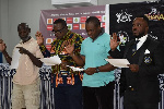 Mr Yartey (right) and the new executive taking the Oath of Office after the election
