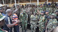 John Mahama addressing soldiers