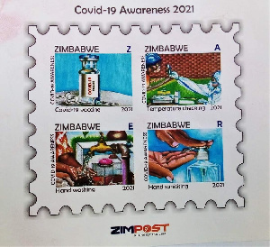 The stamps have depictions of COVID-19 prevention protocols