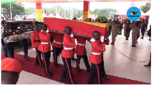 The casket of the late former Vice President was decorated in Ghana colours