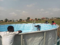 Accra Hearts of Oak's mobile swimming pool being set up