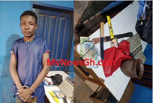 Suspect and retained items from his bag