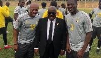 President Nana Akufo-Addo with Andre Ayew and Asamoah Gyan