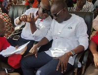 Haruna Iddrisu in a hearty chat with Murtala Mohammed during a campaign launch