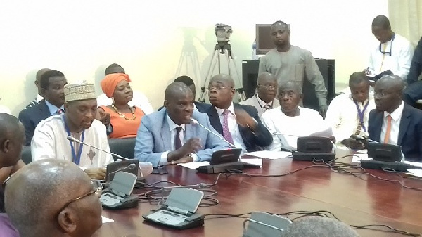 Minority leader Haruna Iddrisu and a section of the minority at the press conference