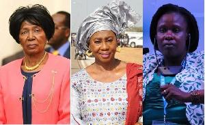L - R: Inonge Wina of Zambia, Isatou Touray of Gambia and Uganda's Jessica Alupo
