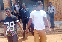 Daniel Asiedu (left) and Vincent Bosso awaiting trial for the murder of Mr J.B. Danquah-Adu