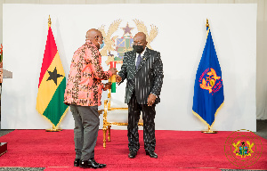 President Akufo-Addo after swearing in Agyeman-Manu as minister on March 6, 2021