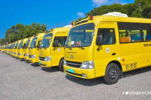 365 double cabin Isuzu pickups and 493 motorbikes were presented to selected schools