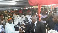 President Akufo-Addo greeting some chiefs at the funeral of the late paramount chief