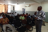 Dr Josephat Nyuzagh taking participants through the effects of Cerebro Spinal Meningitis (CSM)