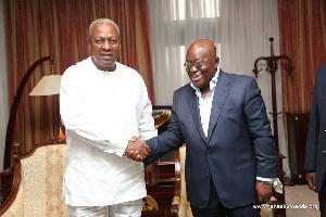 John Mahama (L) hopes to unseat Nana Addo Dankwa Akufo-Addo (R)