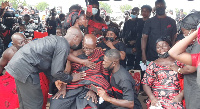 The late Emmanuel Osei's father mourning his son