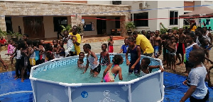 A section of the children having fun