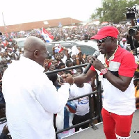 Amakye Dede in a handshake with Nana Addo