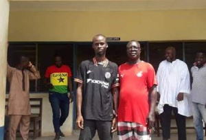 Awal with the Chairman of the Central Regional Football Association after his release