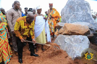 President Akufo-Addo at the construction site with the chief