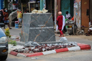 The statue was pulled down by the New Juaben Traditional Council