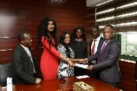 Sandra Ankobiah and Nana Aba receiving the donation