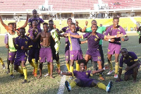Players of Unistar Soccer Academy in celebratory mood after the victory