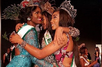 Rebecca Asamoah (left) at United Nations Pageant