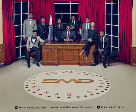 Don Jazzy seated in middle, surrounded the Supreme Mavin Dymasty (SMD) crew