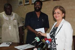 Madam Nesrin Bayazit presenting the cheque Dr Vanderpuije