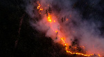 An aerial view shows a wildfire in Yakutia, Russia