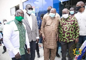 Allotey Jacobs in a photoshoot with President Nana Akufo-Addo at one of the factories