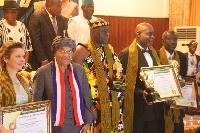 Kofi Adjorlolo (far right) with Osu Mantse and Ellen Johnson Sirleaf, President of Liberia