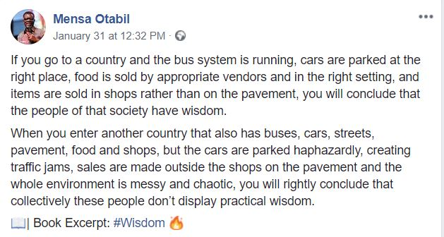 A country that does not have systems put in place lack practical wisdom – Mensa Otabil Mensa Otabil   Wisdom