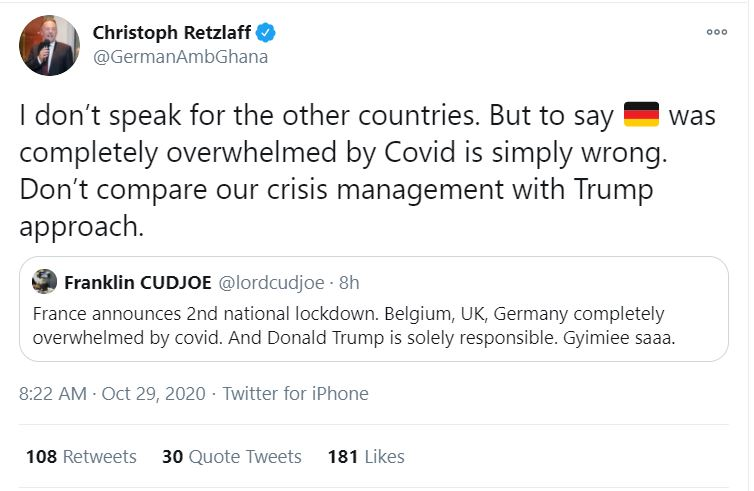 German Ambassador calls out Franklin Cudjoe over 'wrong' coronavirus comments 2