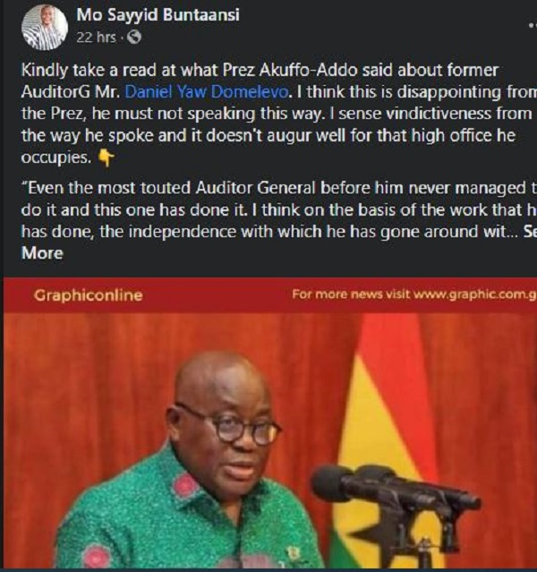 Domelevo under pressure to reply Akufo-Addo as some Ghanaians 'hijack' Facebook page. 70