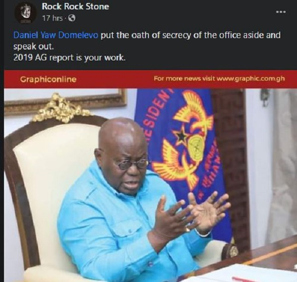 Domelevo under pressure to reply Akufo-Addo as some Ghanaians 'hijack' Facebook page. 65