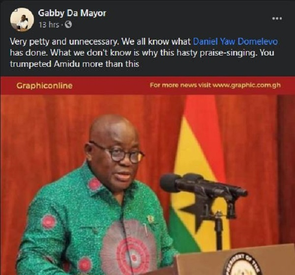 Domelevo under pressure to reply Akufo-Addo as some Ghanaians 'hijack' Facebook page. 66