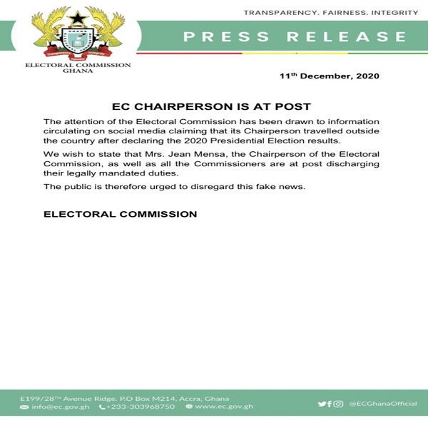 Jean Mensa has not travelled outside Ghana - EC debunks rumours 1