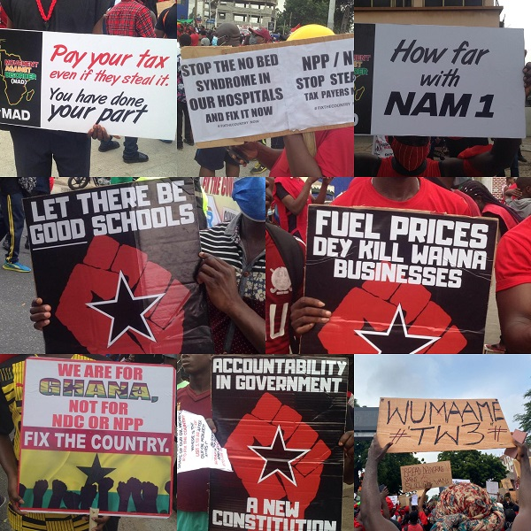 #FixTheCountry Demo: Here are some placard messages protesters have for President Akufo-Addo