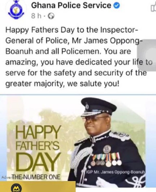 Ghana Police Service forced to delete Father's Day post for IGP after attacks by social media users. 49