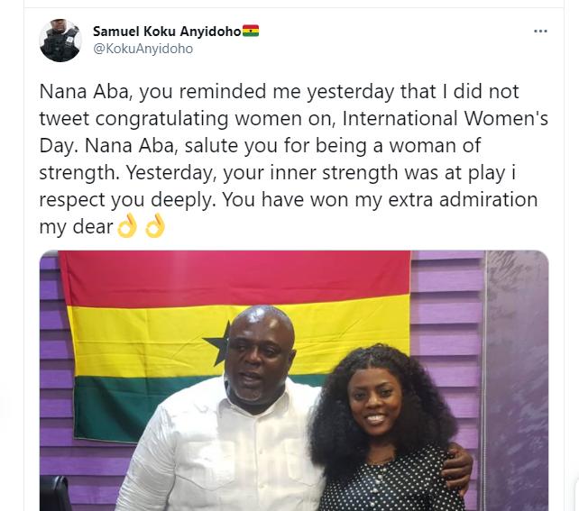 Koku Anyidoho sends sweet message to Nana Aba Anamoah after provocative question 1